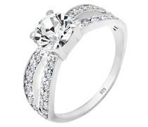 Damen Ring 925 Sterling Silber Swarovski Kristall Brillantschliff Größe: 56 mm