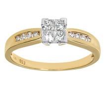Damen-Ring 9 K 375 Gelbgold Diamant 0,33 ct