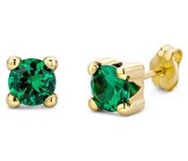 Damen-Ohrstecker 375 Gelbgold Smaragd grün Rundschliff - MA9145E