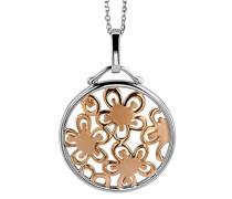 Damen Halskette Silber vergoldet teilrhodiniert