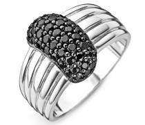 Damen-Ring 925 Silber rhodiniert Zirkonia Rundschliff