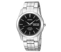 Seiko-SGG715P1-Armbanduhr-Quarz Analog-Zifferblatt schwarz Armband Stahl Grau