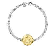 Cherish vergoldet Gravierbarer Flache Scheibe doppelt silber Kette, Armband der 18,5cm