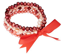 Valero Pearls Classic Collection Damen-Armband Hochwertige Süßwasser-Zuchtperlen in ca.  5 mm Oval rosa / pink / purple  Satin rot  19 cm   60020088