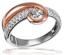 Damen-Ring rosévergoldet 925 Silber teilvergoldet weiß Brillantschliff Zirkonia
