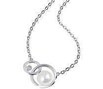 Damen-Halskette Kreise Süßwasserzuchtperle 375 Weißgold Kettenanhänger Schmuck Perlenkette