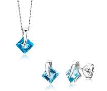 Damen-Set: Halskette + Ohrringe Blau Topas Karat 375 Weißgold