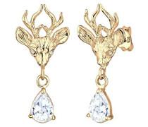 Damen-Ohrstecker Wiesnschmuck 925 Sterling Silber Kristall Zirkonia gold 0305891314
