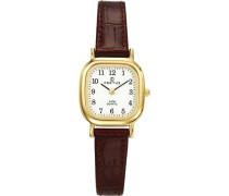 –646523Damen-Armbanduhr–Quarz Analog–Weißes Ziffernblatt–Armband Leder braun