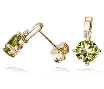 Damen-Ohrstecker 9 Karat 375 Gelbgold 2 Diamanten 0,03 ct. 2 Peridot Fa O973GG375 Ohrringe Brillanten Schmuck