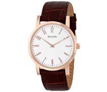 Kleid Herren Armbanduhr Quarz mit creme Zifferblatt Analog-Anzeige und braunem Lederband 97A106
