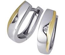 Damen-Creolen Ohrringe 925 Sterlingsilber gelb vergoldet 2 Diamanten Bicolor Brillianten Schmuck