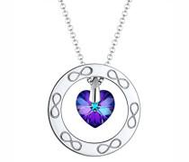 Premium Damen-Kette mit Anhänger Herz Infinity 925 Silber rhodiniert Swarovski Kristalle lila Facettenschliff 60 cm 0101622417_60
