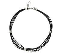 Stainless Steel Damen Collier Edelstahl Leder schwarz 8-reihig Süßwasserzuchtperle 45 cm 389050094