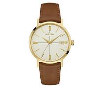 Classic Aerojet 97B151 - Herren Designer-Armbanduhr - Armband aus Leder - Goldfarben mit Braun