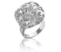 Damen-Ring Ring 925 Silber rhodiniert Zirkonia Rundschliff weiß 54 (17.2) - R-4211/54