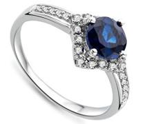 9 Karat (375) Weißgold Saphir Diamant Ring SA9026R