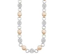 Damen-Collier Kette 42+3 cm verstellbar Edelstahl Bicolor IP Rose Swarovski Kristalle weiß