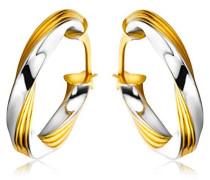 9 Karat (375) Gelb-/Weißgold klassische gedrehte Damen-Creolen MSIL946E