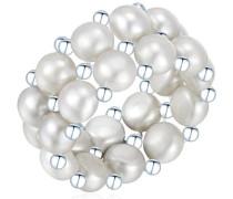 Classic Collection Damen-Ring elastisch Hochwertige Süßwasser-Zuchtperlen in ca.  4-5 mmButton silber 925 Sterling Silber       60840023