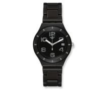 Swatch Herren-Armbanduhr XL Classic Only Black Analog Quarz Aluminium YGB4008AG