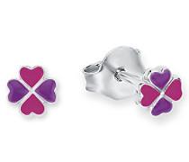 Kinder-Ohrstecker Mädchen Kleeblatt 925 Silber rhodiniert Emaille pink lila