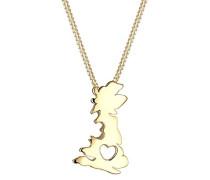 Damen-Kette mit Anhänger England Herz Vergoldet    45 cm - 0106441016_45