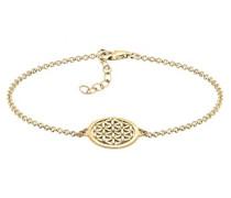 Damen Schmuck Echtschmuck Armband Gliederarmband Ornament Lebensblume Sterling Silber 925 Vergoldet Länge 17 cm