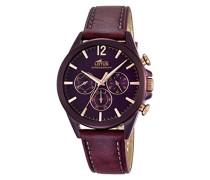 Lotus Herren Armbanduhr Quarz mit Lila Zifferblatt Chronograph-Anzeige und Leder violett 0521.10318202/1