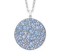 Damen-Kette mit Anhänger Swarovski Kristalle Messing rhodiniert Kristall blau 80 cm - 9289547