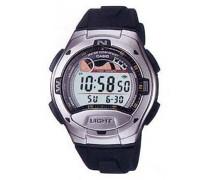 W 753-1A-Sport-Armbanduhr, Digital LCD-Armband, Kunstharz, Schwarz