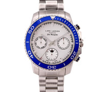 Sea Navigator Men'Quarz-Uhr mit weißem Zifferblatt Analog-Anzeige und Silber-Edelstahl-Armband 134SSDSB