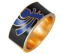 Unisex-Ring 925 Sterling Silber Edelstahl rhodiniert Kunststoff Totem
