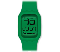 Swatch Unisex-Armbanduhr Touch Green Digital Quarz Plastik SURG102
