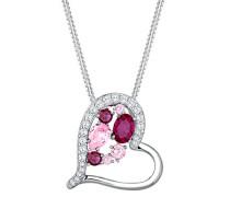 Damen-Kette mit Anhänger Herz Liebe 925 Silber Synthetik Rubin rosa Rundschliff 45 cm -