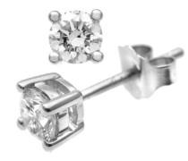 Damen-Ohrstecker 9k 375 Weißgold rhodiniert Diamant (0.50 ct) weiß Rundschliff - PE01864W