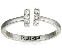 Damen-Ring Being Versilbert Kristall transparent Rundschliff