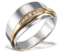 Damen-Ring Bicolor 585 Gelbgold rhodiniert Diamant (0.08 ct) weiß Brillantschliff
