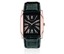 285A033–Armbanduhr–Quarz Analog–Zifferblatt schwarz Armband Leder schwarz
