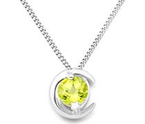 Damen-Halskette 9 Karat (375) Weißgold Peridot Anhänger 45cm Kette