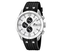 Herren Quarz-Uhr mit weißem Zifferblatt Chronograph-Anzeige und schwarz Rubber Strap 15969/1