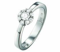 Damen-Ring 925 Sterling Silber rhodiniert Kristall Zirkonia Éphémère weiß