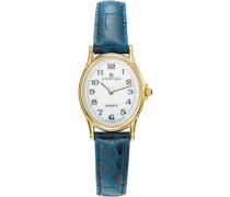 –646462Damen-Armbanduhr–Quarz Analog–Weißes Ziffernblatt–Armband Leder Blau