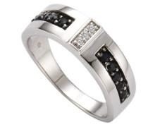 Damen-Ring 925 Sterling Silber 3x Diamanten 0.01 ct. 10x Saphir schwarz 0.04 ct.