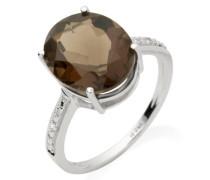 Damen-Ring 375 Weißgold Rauchtopas und Brillanten