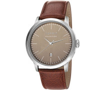 Herren-Armbanduhr Soter Analog Quarz Leder EL102131F02