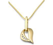 Damen-Kette mit Anhänger Herz 9 Karat Gelbgold Zirkonia 45 cm MM9048ZN