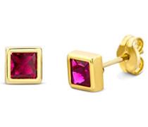 Miore Damen-Ohrstecker 375 Gelbgold Rubin rot Quadratschliff