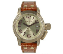 Jet set-j2068s - 736-san Remo Lady Damen Armbanduhr Analog Quarz Golden Zifferblatt braun Lederband