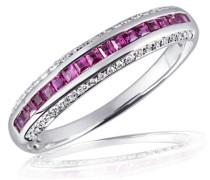 Damen-Ring Memoire 14 Karat 585 Weißgold 18 Rubine 44 Brillanten SI/H 0,14 ct.